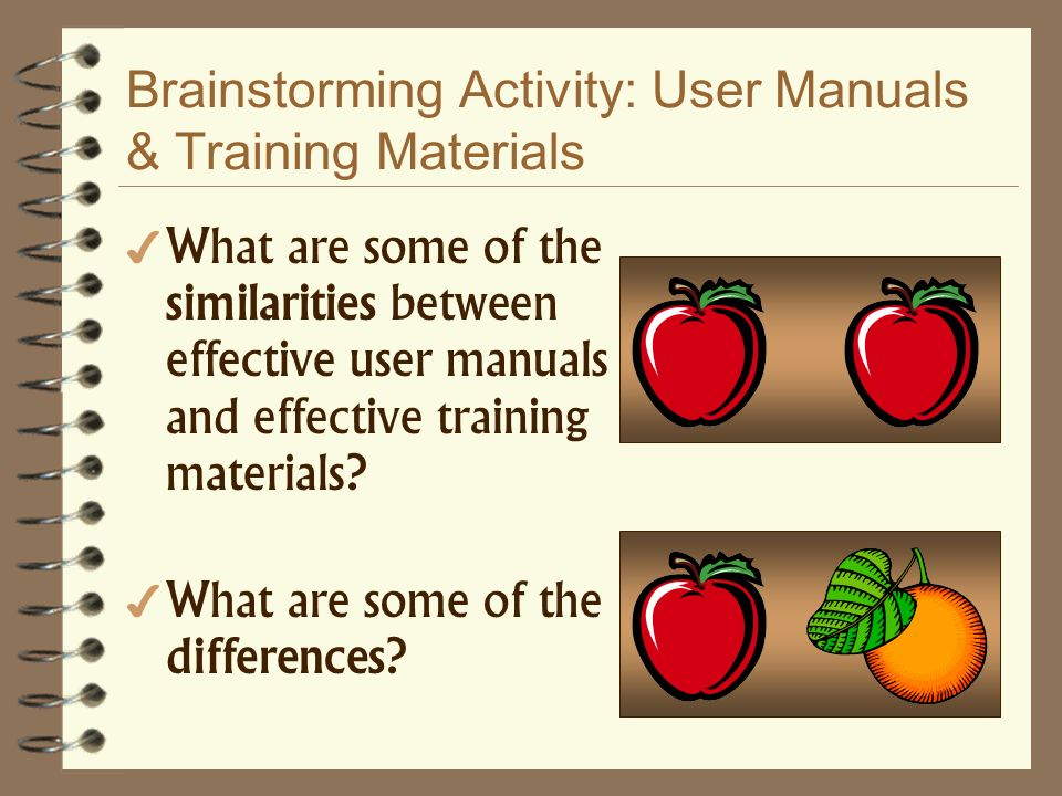 Brainstorming Activity: User Manuals & Training Materials