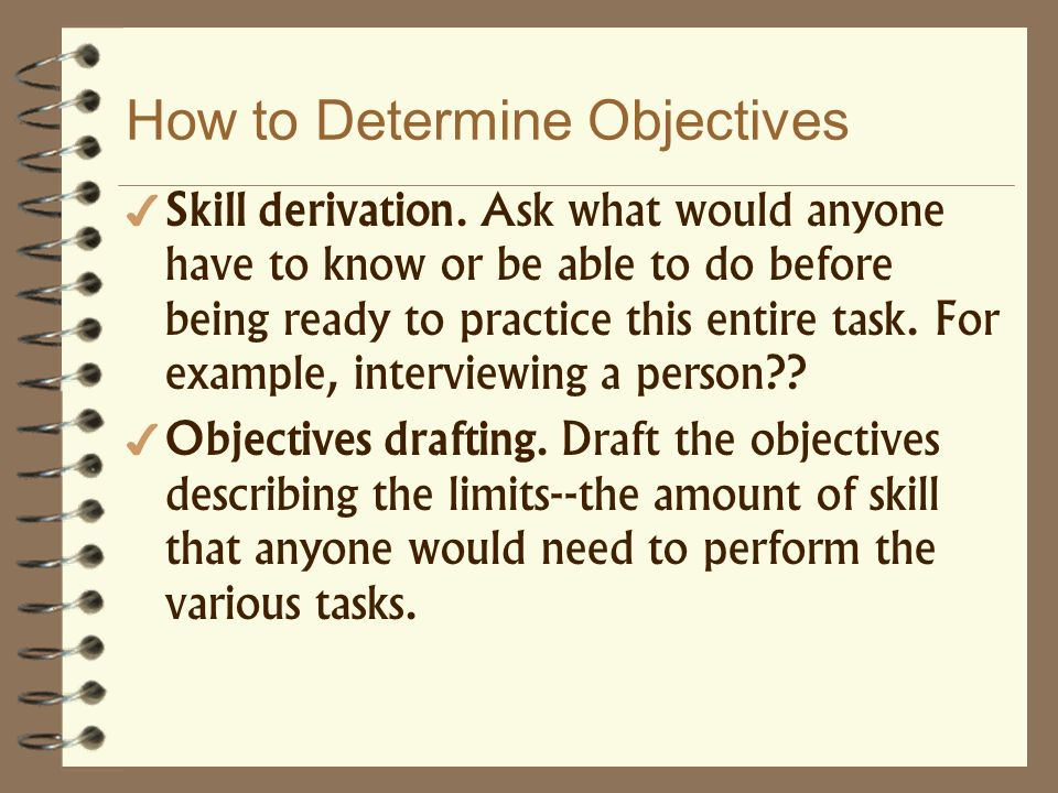 How to Determine Objectives