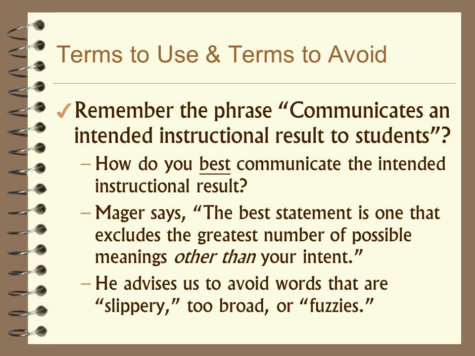 Terms to Use & Terms to Avoid