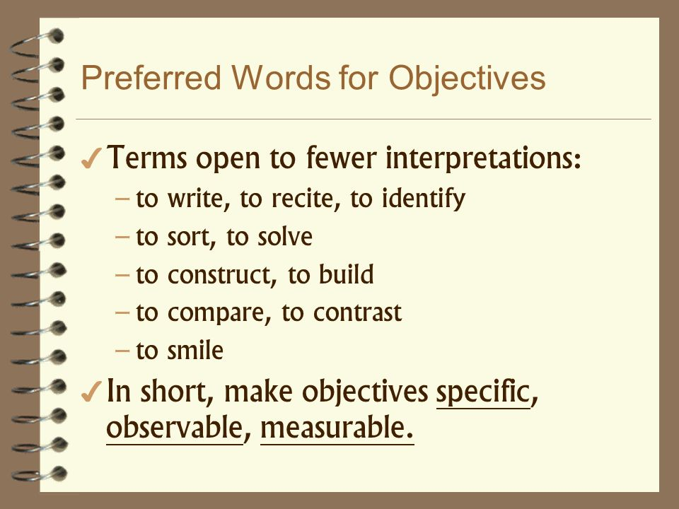 Preferred Words for Objectives