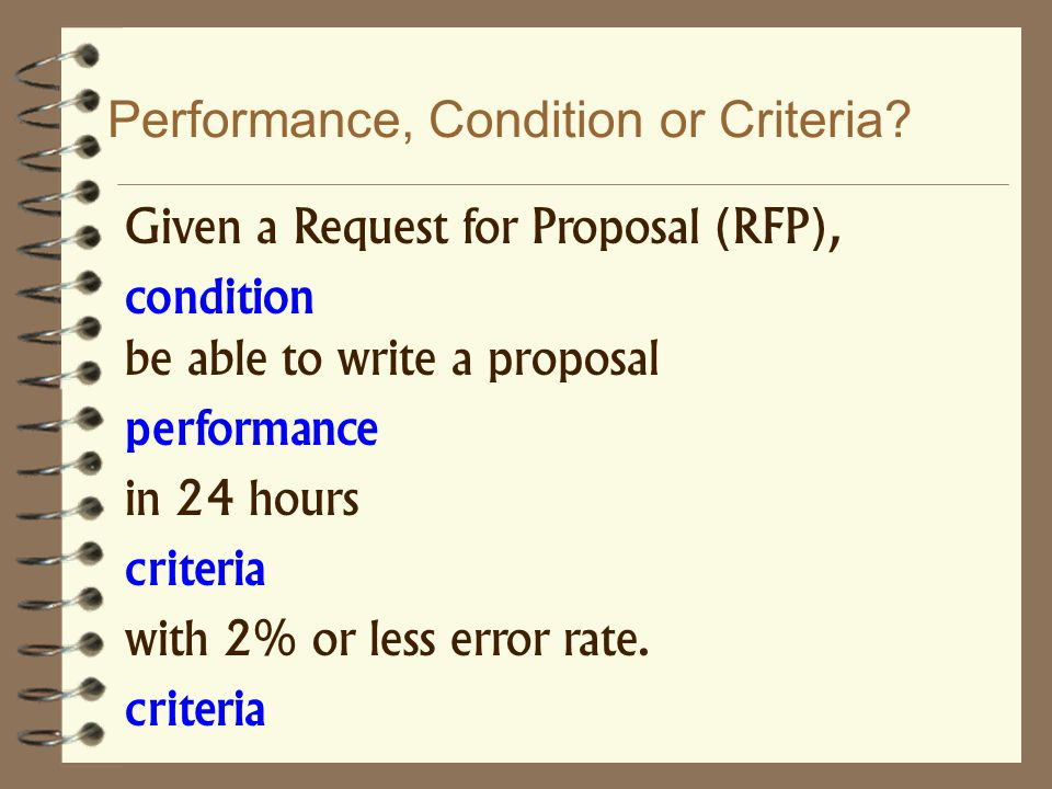 Performance, Condition or Criteria