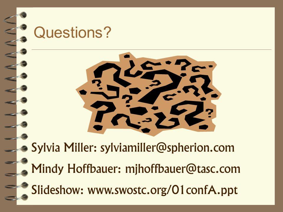 Questions Sylvia Miller: sylviamiller@spherion.com