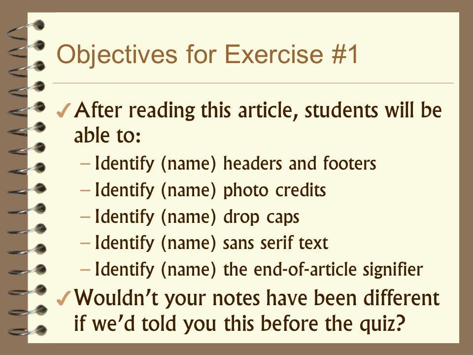 Objectives for Exercise #1