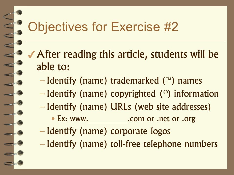 Objectives for Exercise #2