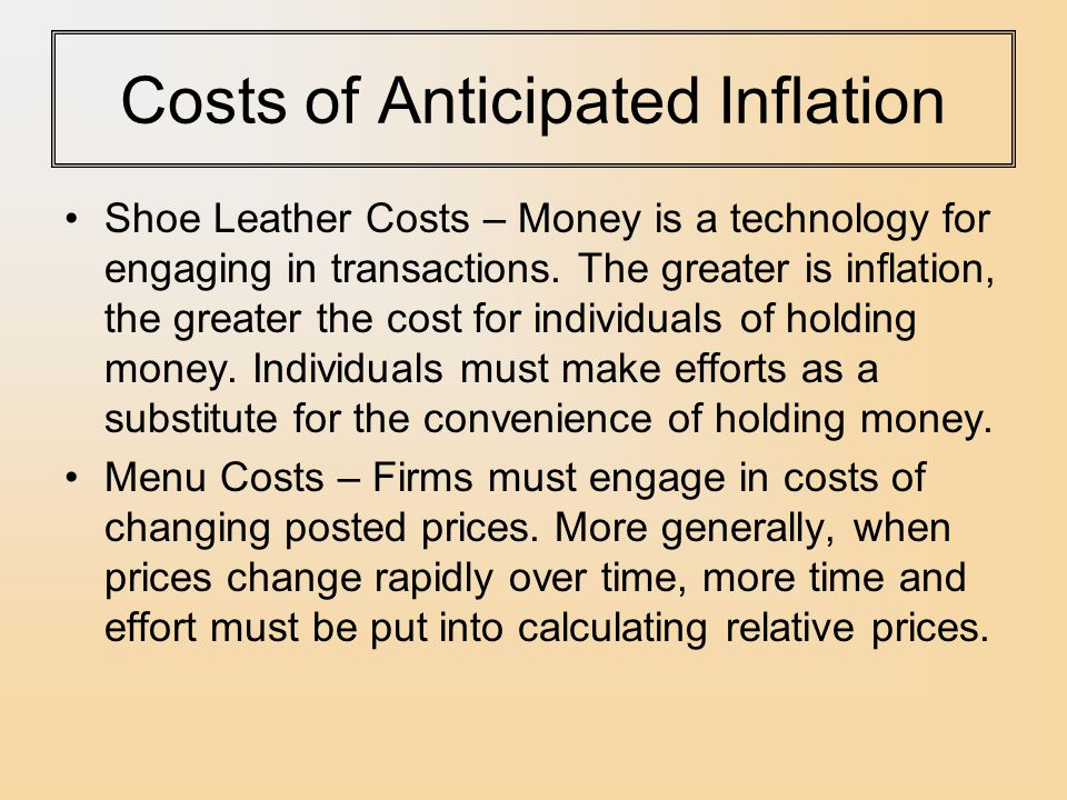 Inflation Shoe Leather Costs