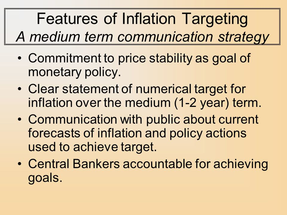 medium term forecasting of inflation rate The term inflation-forecast targeting or ift better describes the behavior of dual- mandate central banks that have adopted flexible inflation targeting since they typically focus their attention on their forecast of future inflation and on the actions that they propose to take to bring the future rate of inflation.