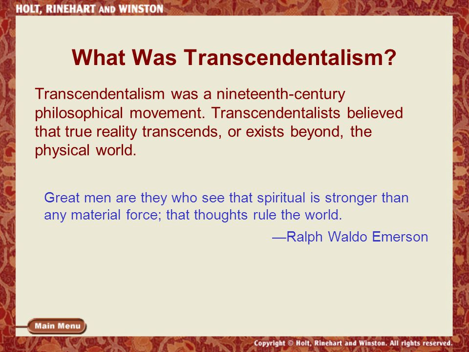 Ralph waldo emersons contribution to the philosophy of transcendentalism