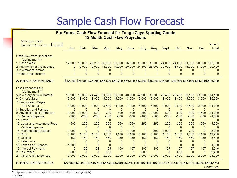 sample cash flow projections
