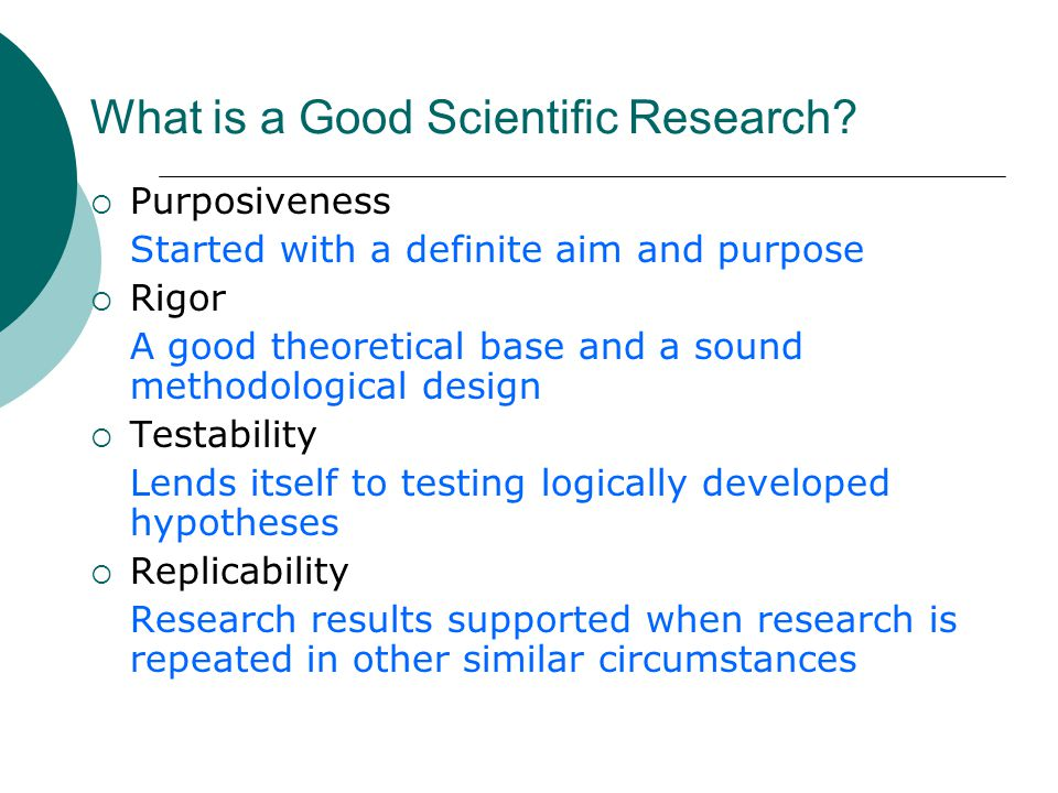 What is a Good Scientific Research