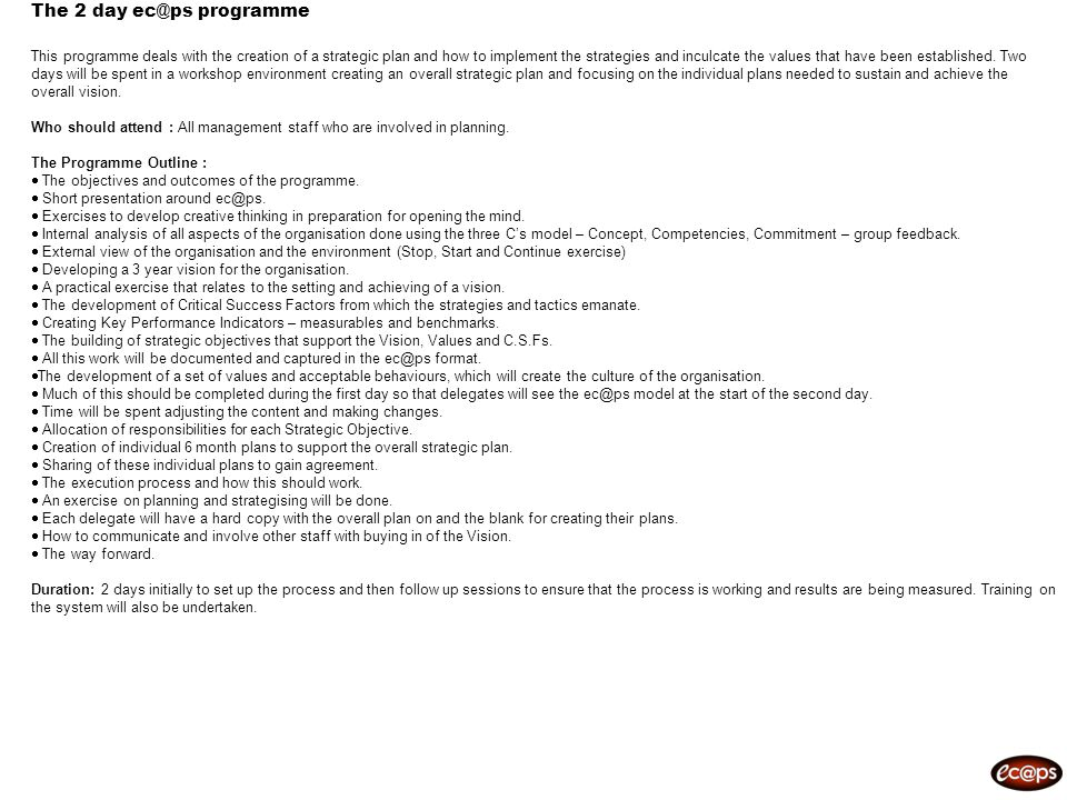 The 2 day programme