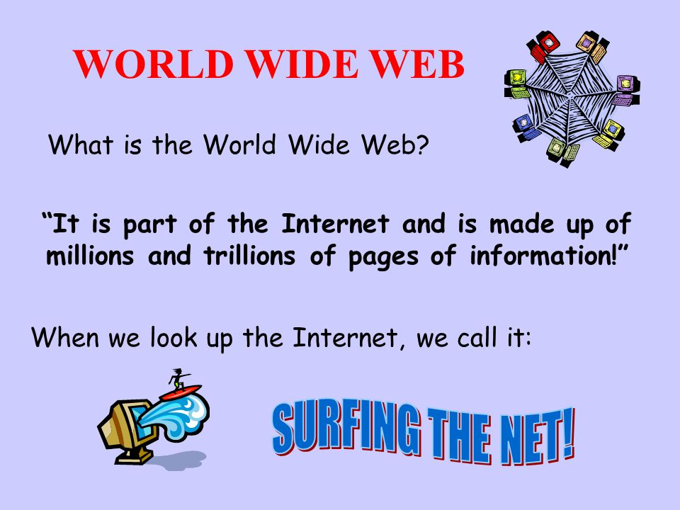 surfing the internet and the world wide web The internet is an international network of interconnected computers and the world wide web is a subset of that the world wide web (www) is one set of software services running on the internet the internet itself is a global, interconnected network of computing devices.