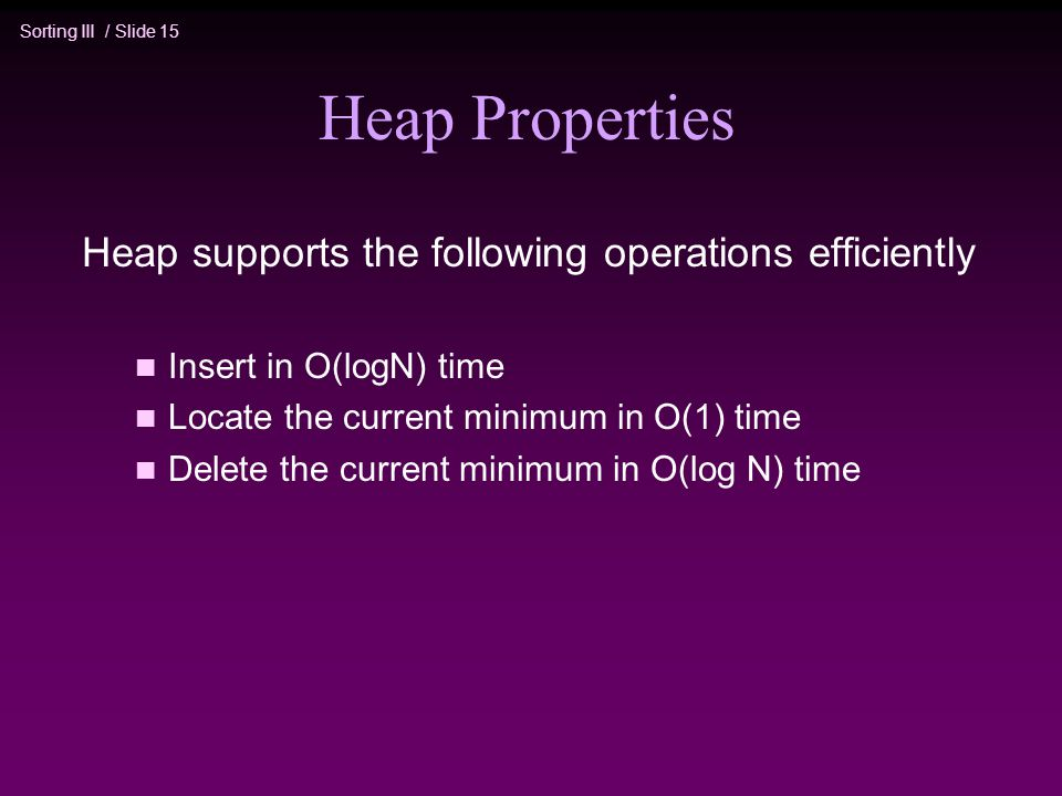 Heap Properties Heap supports the following operations efficiently