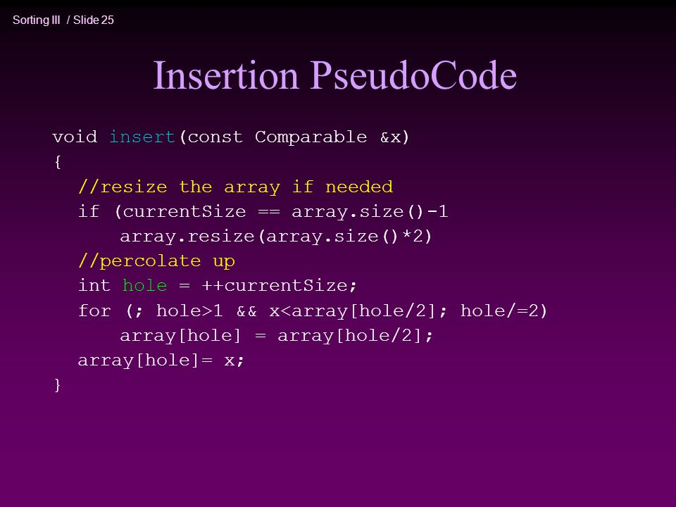 Insertion PseudoCode void insert(const Comparable &x) {