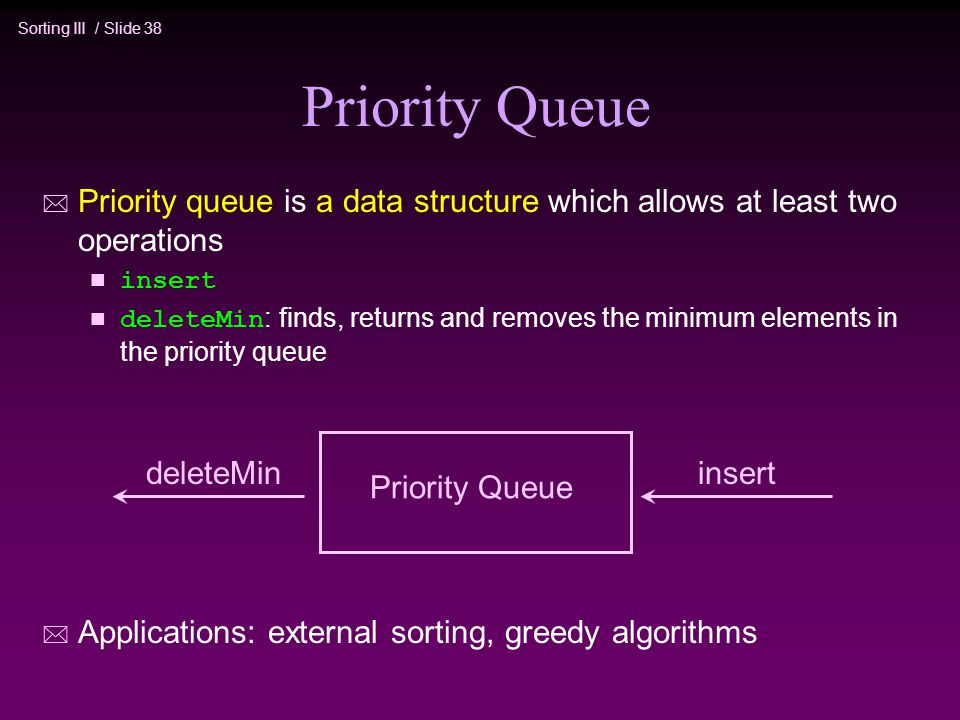 Priority Queue Priority queue is a data structure which allows at least two operations. insert.