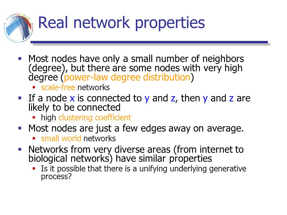 Real network properties