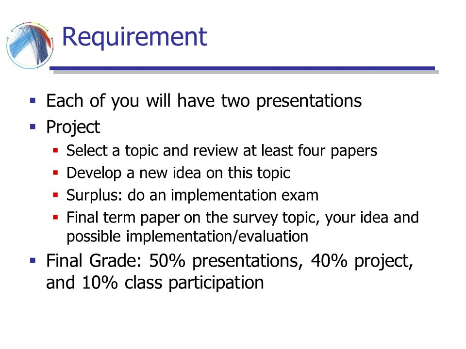 Requirement Each of you will have two presentations Project