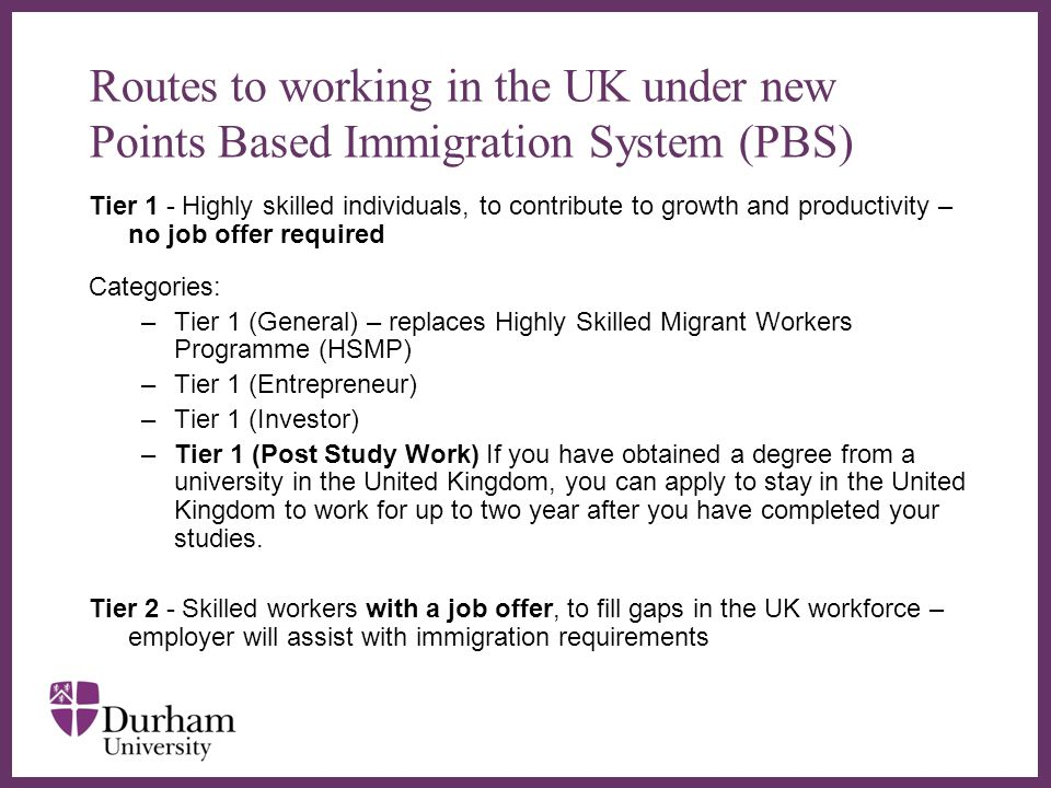 Routes to working in the UK under new Points Based Immigration System (PBS)
