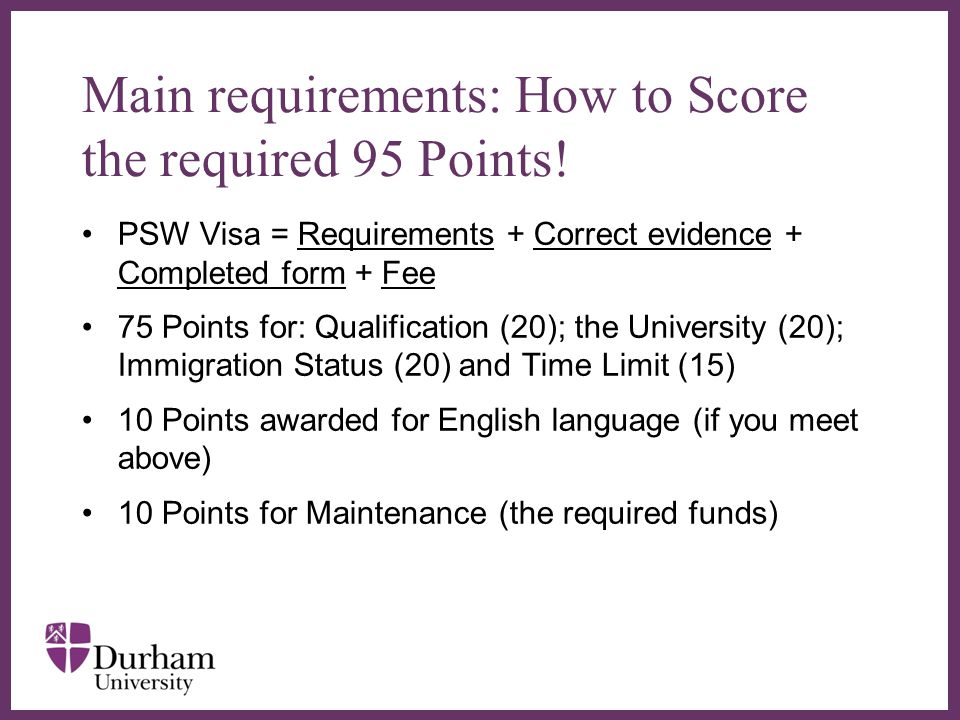 Main requirements: How to Score the required 95 Points!