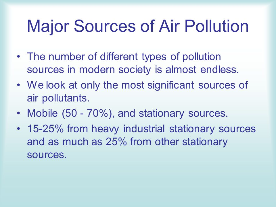 A look at the different sources of pollution