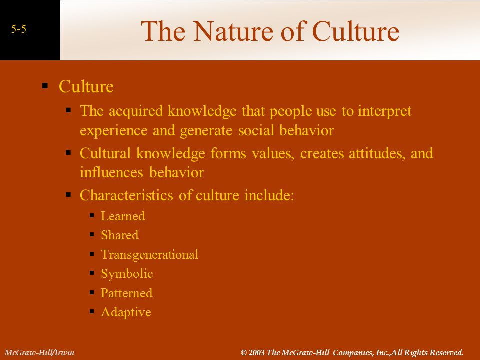 The Nature of Culture Culture
