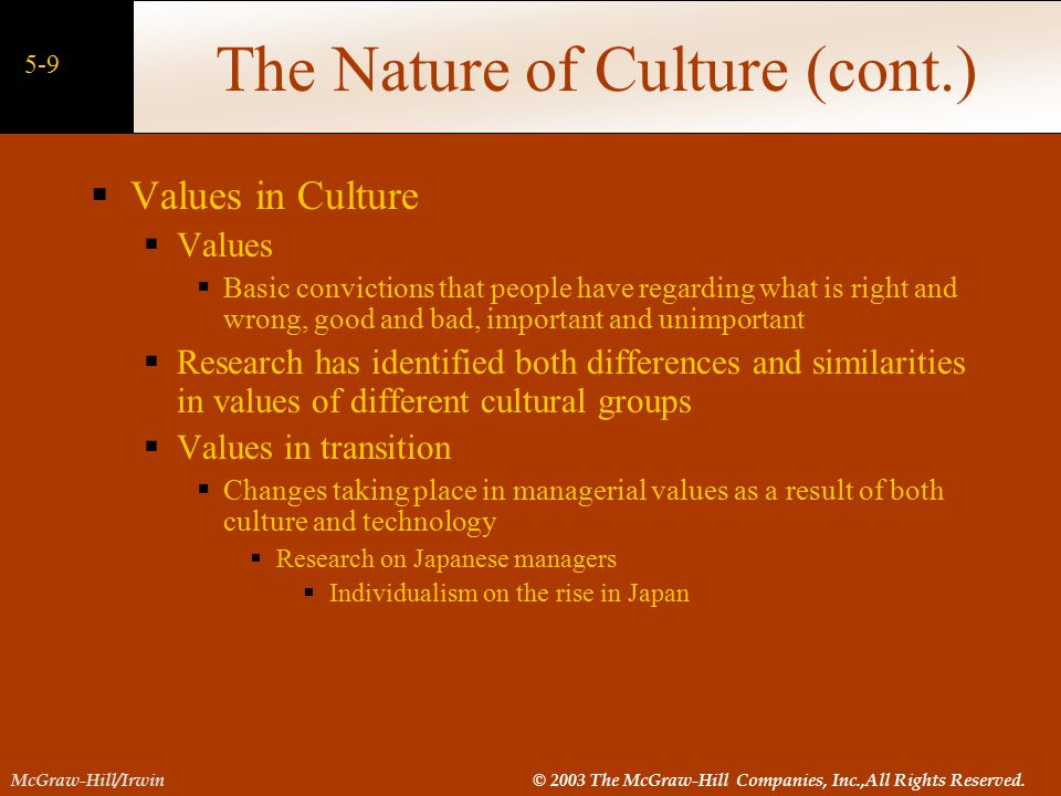 The Nature of Culture (cont.)