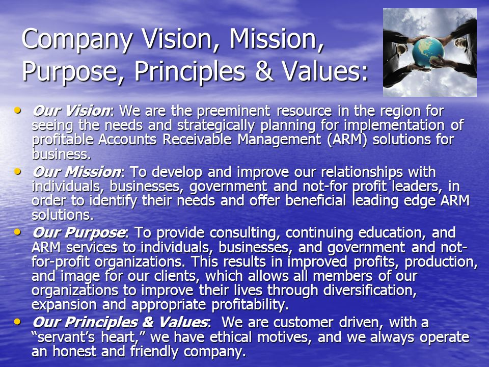 Company Vision, Mission, Purpose, Principles & Values: