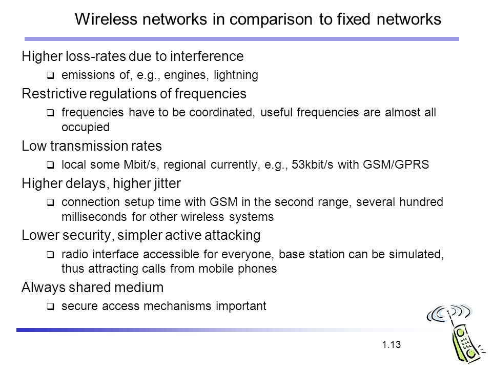 Wireless networks in comparison to fixed networks