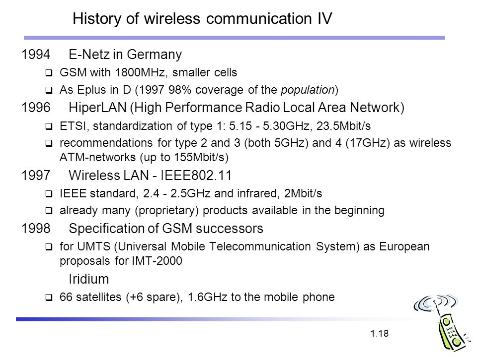 History of wireless communication IV