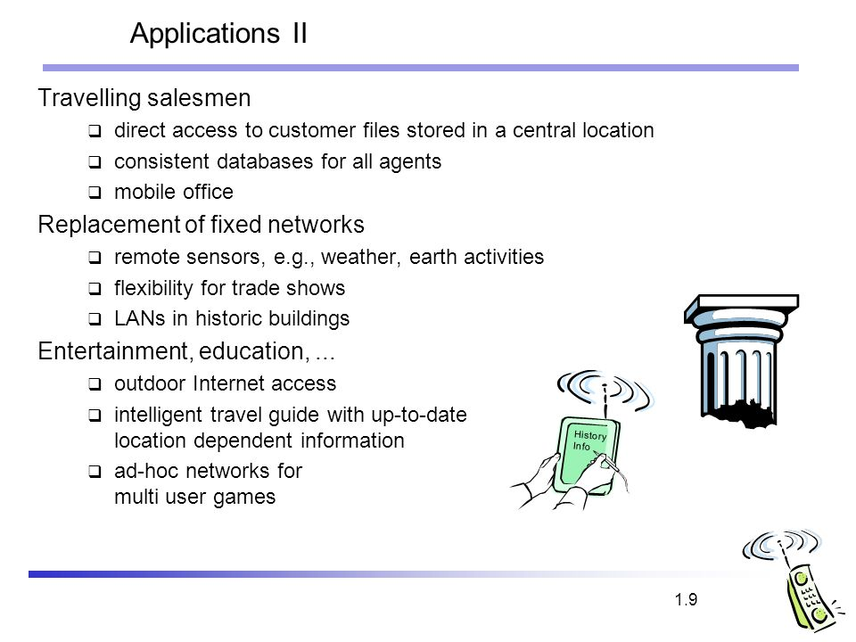 Applications II Travelling salesmen Replacement of fixed networks