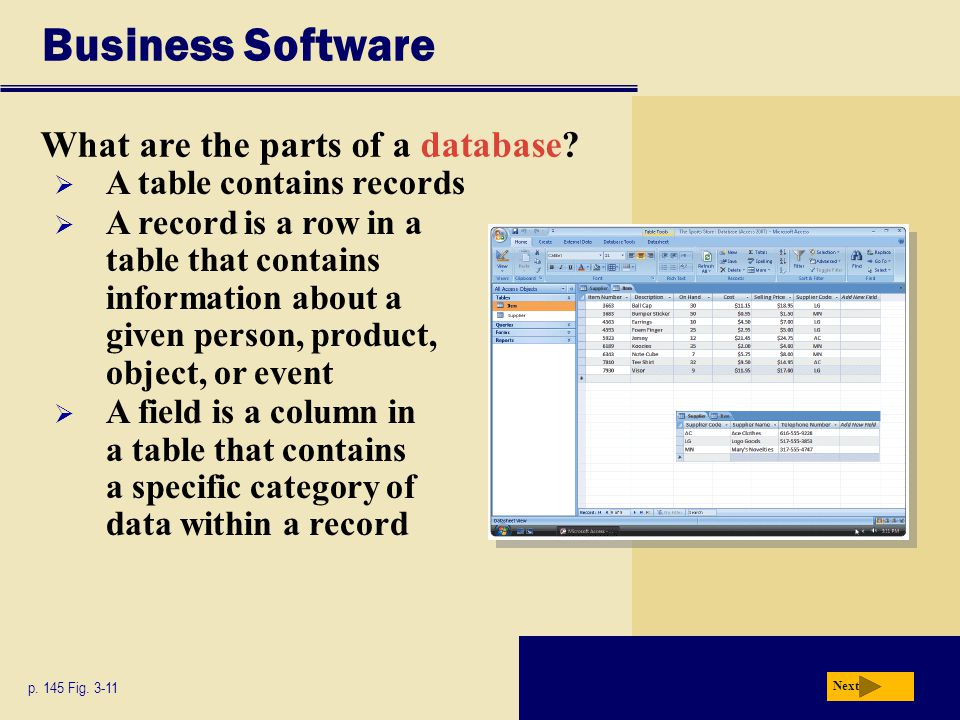 Business Software What are the parts of a database