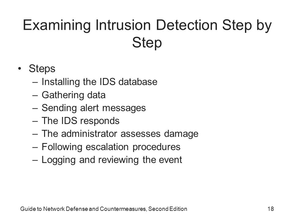 Examining Intrusion Detection Step by Step