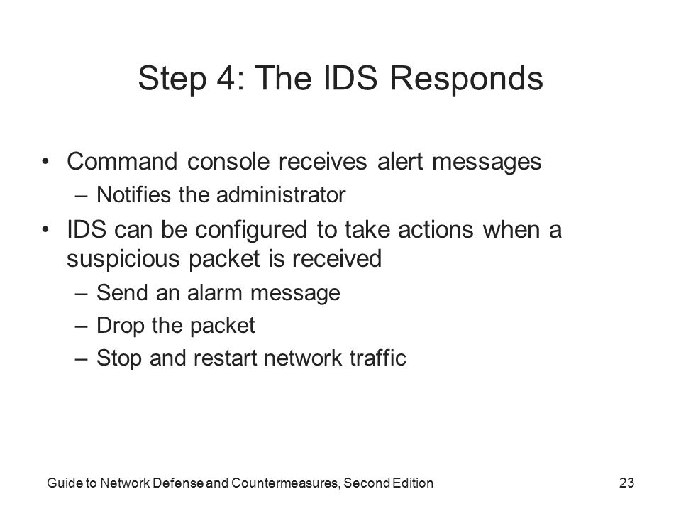 Step 4: The IDS Responds Command console receives alert messages