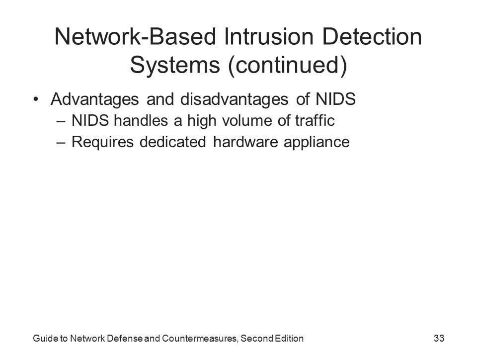 Network-Based Intrusion Detection Systems (continued)