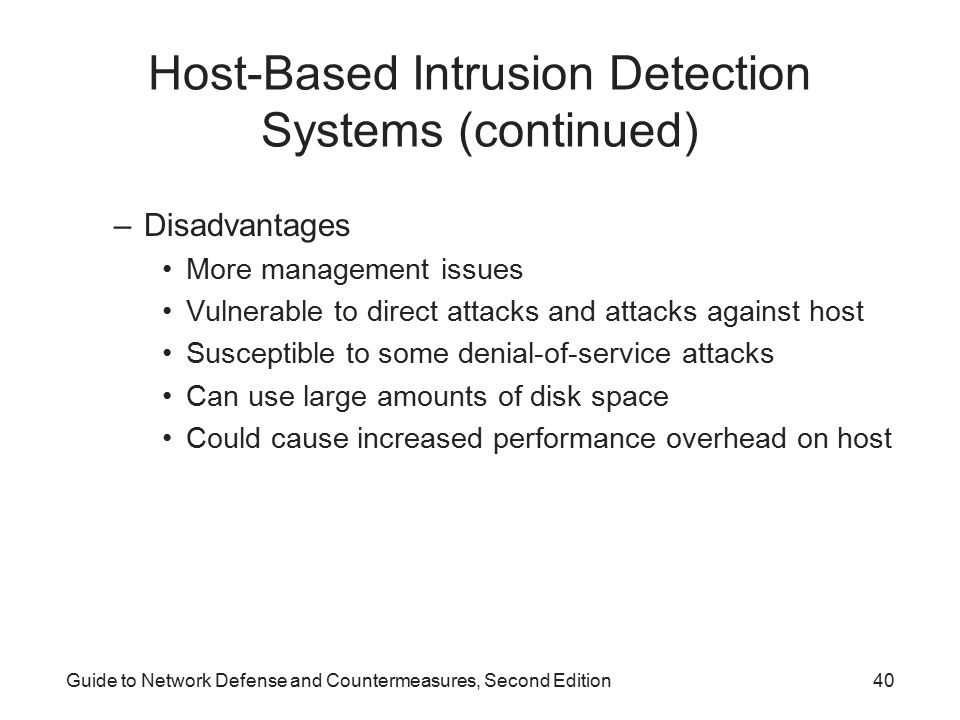 Host-Based Intrusion Detection Systems (continued)