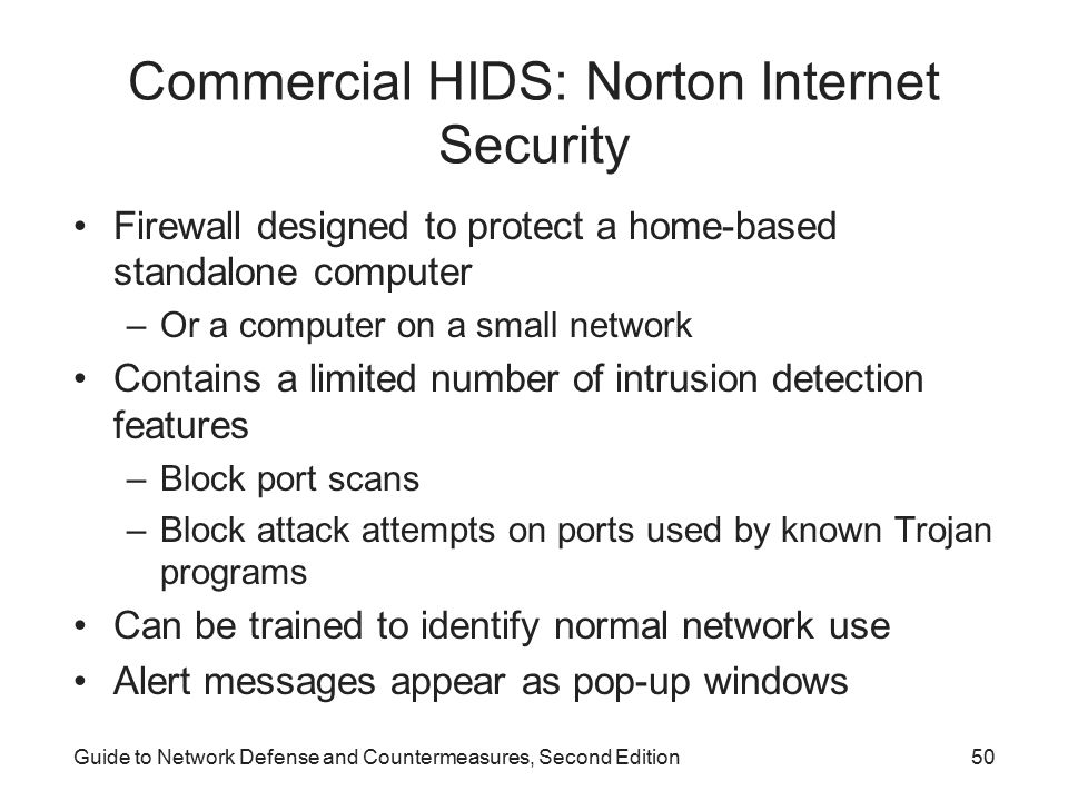 Commercial HIDS: Norton Internet Security
