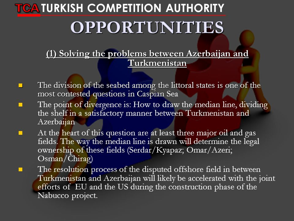 (1) Solving the problems between Azerbaijan and Turkmenistan