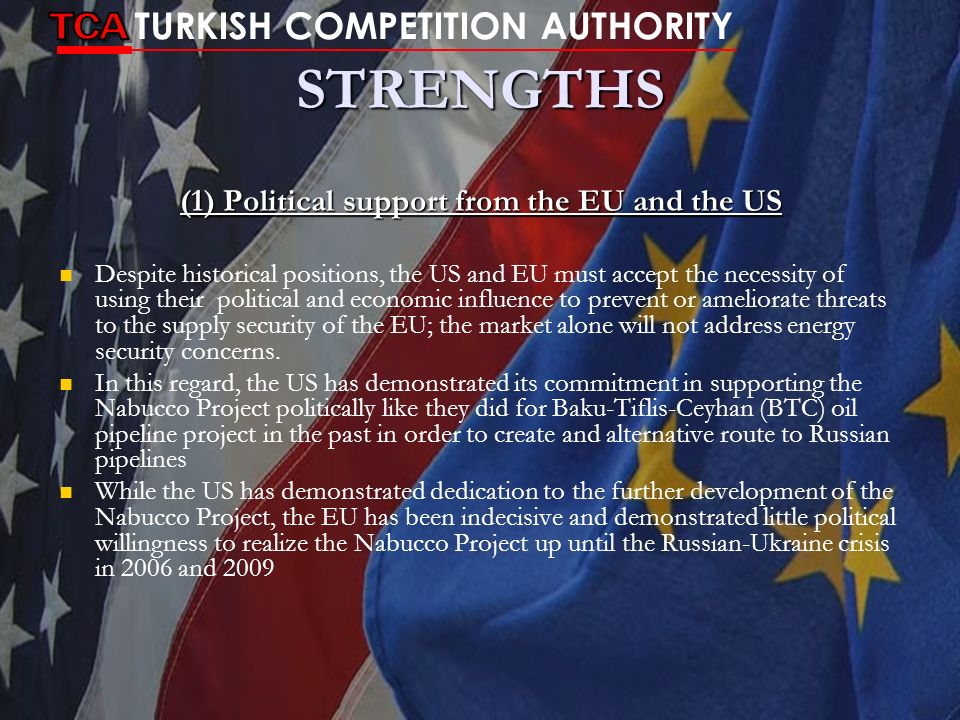 (1) Political support from the EU and the US