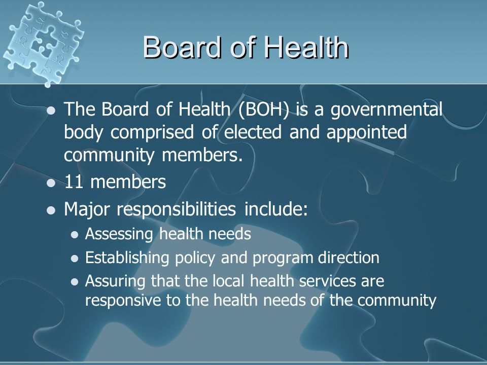 Board of Health The Board of Health (BOH) is a governmental body comprised of elected and appointed community members.