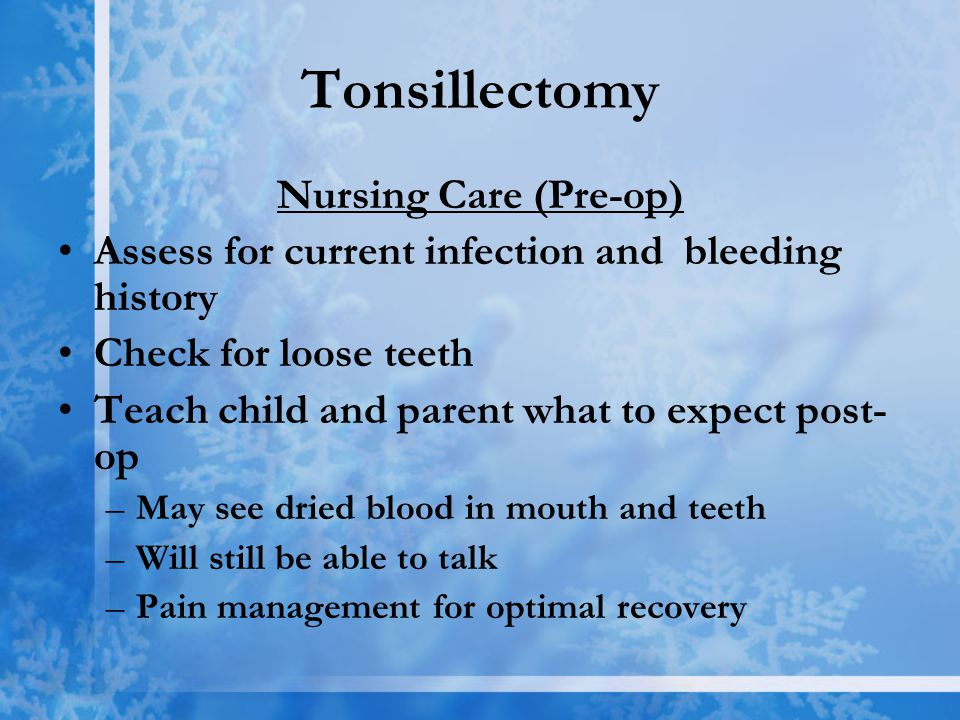 post tonsillectomy bleeding Tonsillectomy this surgery is associated with the removal of the tonsils and there are the some complications that can arise after the surgery.