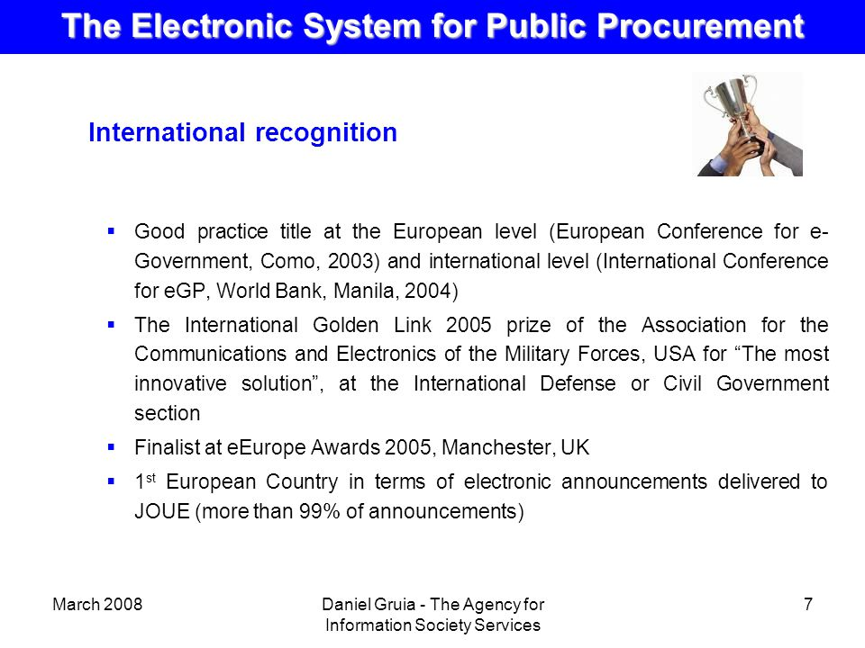 public e procurement The e-procurement system also called the electronic - government procurement (e-gp) system is the use of information and communications technology (especially the internet) by governments in conducting their procurement relationships with suppliers for the acquisition of goods, works and consultancy services required by the public sector.