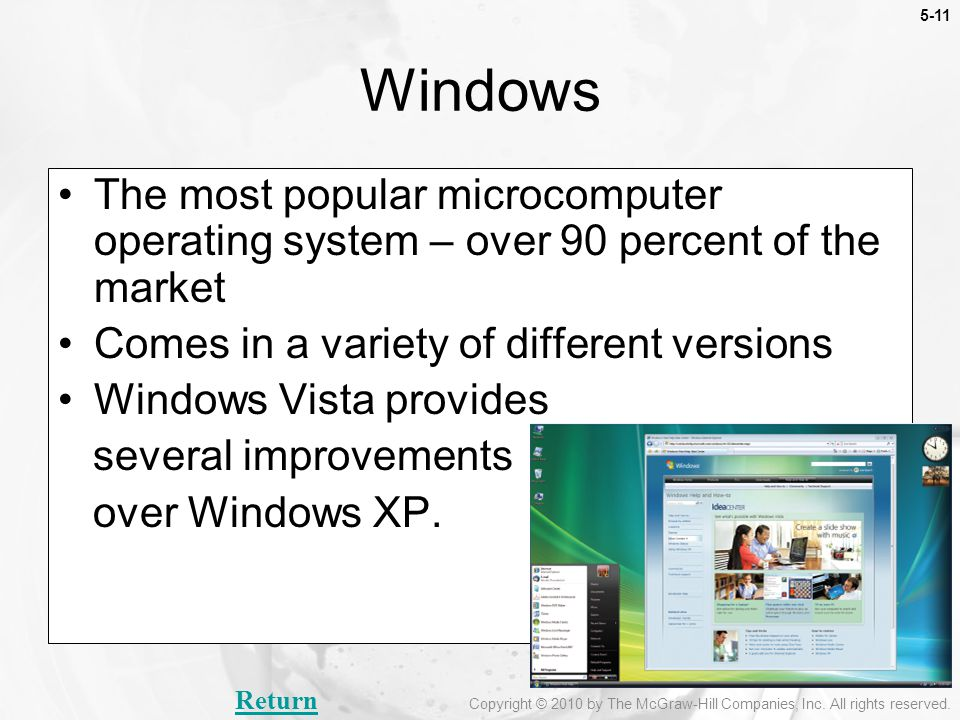 Windows The most popular microcomputer operating system – over 90 percent of the market. Comes in a variety of different versions.