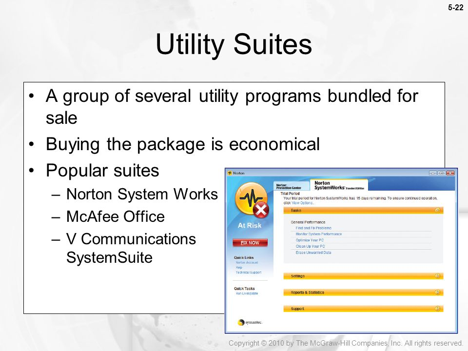 Utility Suites A group of several utility programs bundled for sale
