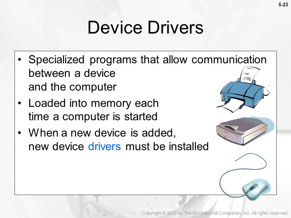 Device Drivers Specialized programs that allow communication between a device and the computer. Loaded into memory each time a computer is started.