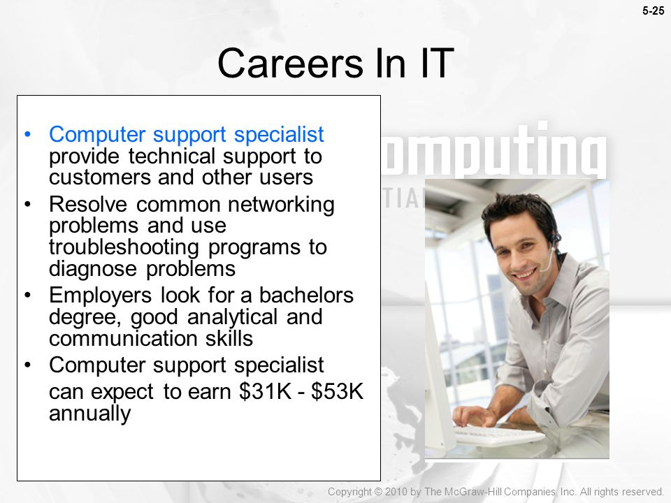5-25 Careers In IT. Computer support specialist provide technical support to customers and other users.