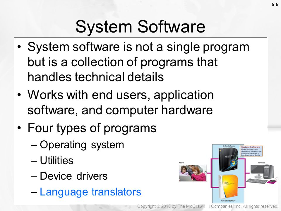 System Software System software is not a single program but is a collection of programs that handles technical details.