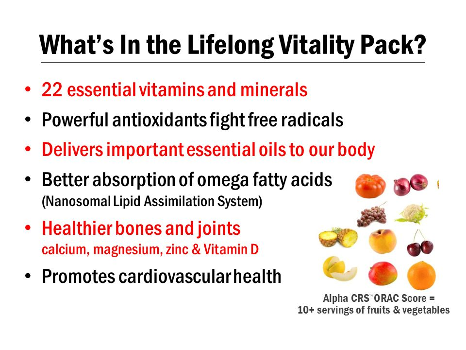 What's In the Lifelong Vitality Pack