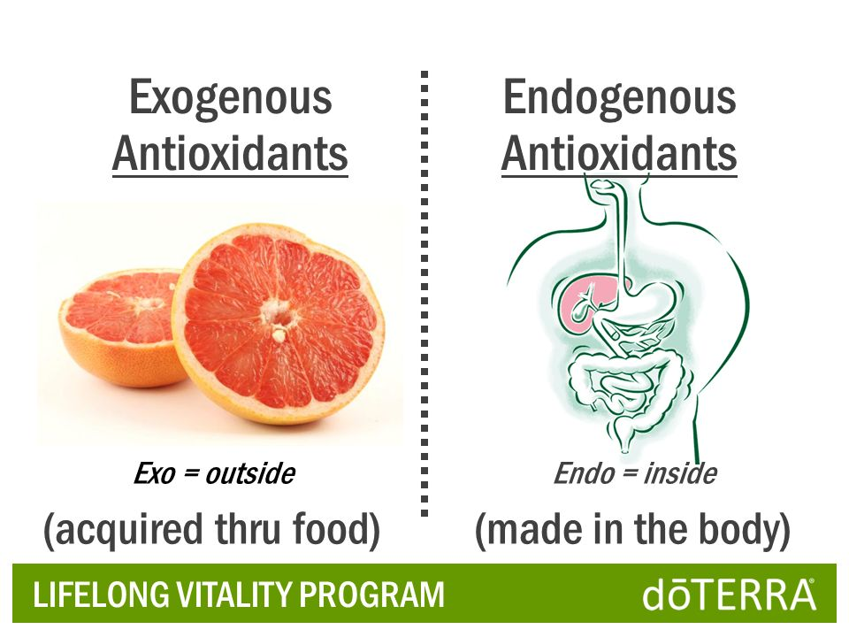 Exogenous Antioxidants Endogenous Antioxidants (acquired thru food)