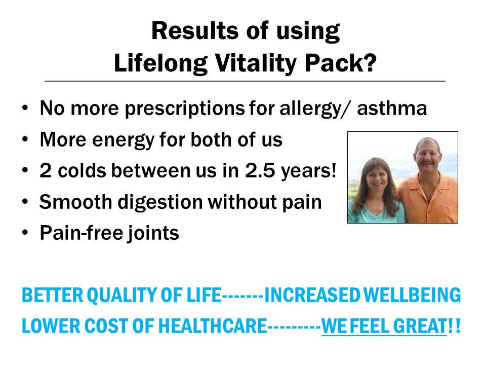Results of using Lifelong Vitality Pack