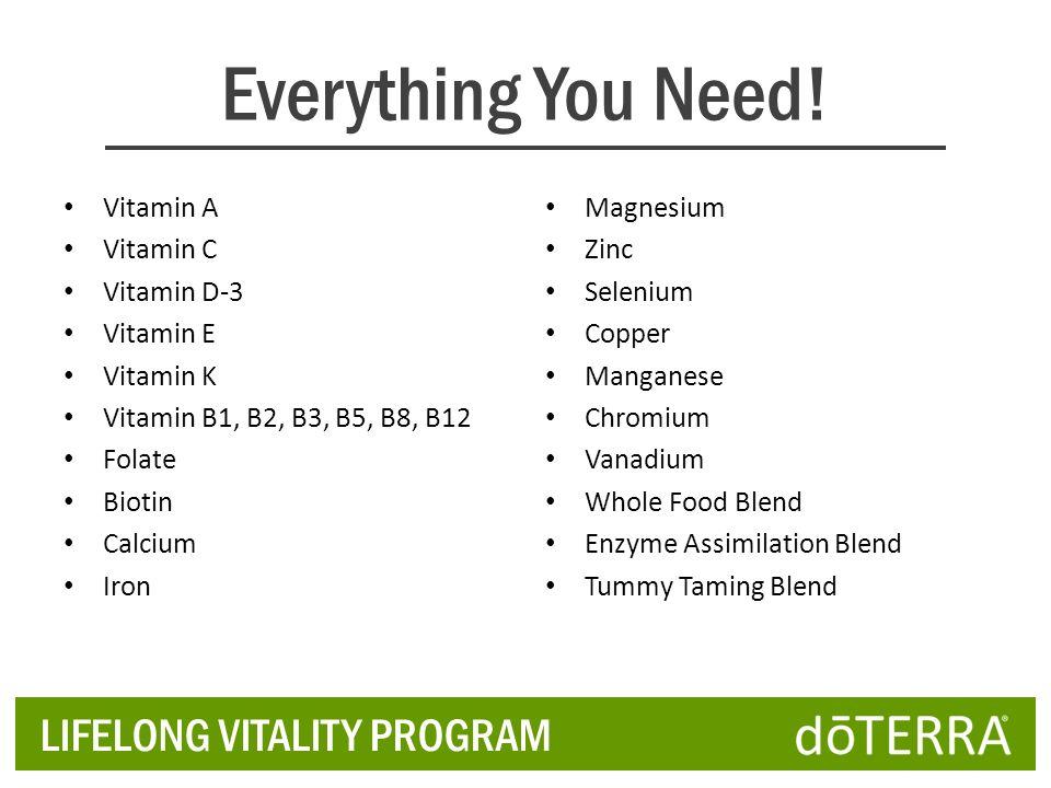 Everything You Need! LIFELONG VITALITY PROGRAM Vitamin A Vitamin C