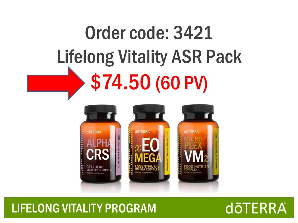 Lifelong Vitality ASR Pack $74.50 (60 PV)